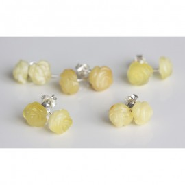 """Lot of 5 baltic amber silver 925 studs earrings """"Roses"""""""