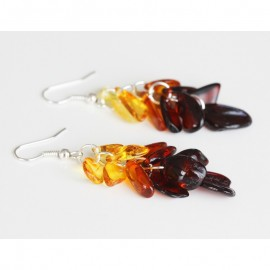 "Baltic amber dangle earrings ""Rainbow"""