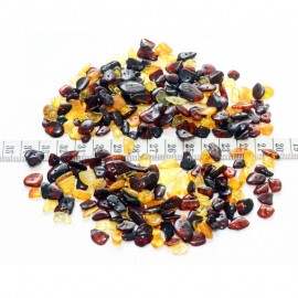 Multicolored polished baltic amber loose chip style beads with holes. 30g ~300pc