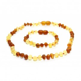 Raw baltic amber baby teething necklace and bracelet/anklet set