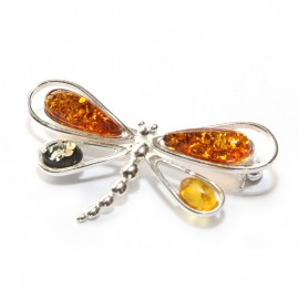 "Baltic amber & sterling silver 925 brooch ""Dragon-fly"""