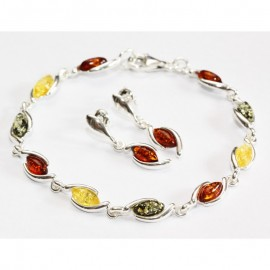 Baltic amber earrings and bracelet set. Sterling silver 925