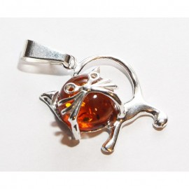 """Baltic amber & sterling silver 925 pendant """"Cat"""""""
