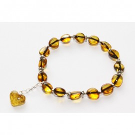 Baltic amber stretch bracelet. With pendant.