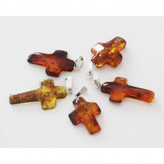 Amber24 baltic amber pendant lot of 5 baltic amber cross pendants mozeypictures Gallery