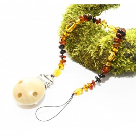 Pacifier clip/holder with baltic amber beads.