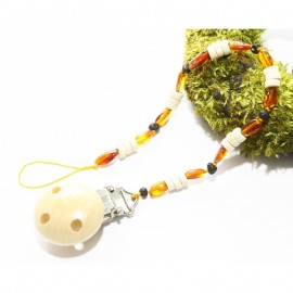 Pacifier clip/holder with baltic amber and wooden beads.