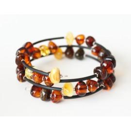 Baltic amber memory wire bracelet